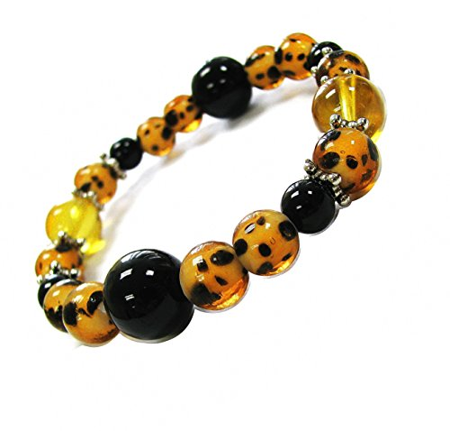 Linpeng Lampwork Glass Beads Handmade Animal Prints Leopard Skin Stretch Bracelet, Black/Amber