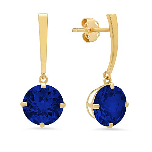 14k Yellow Gold Solitaire Round-Cut Created Blue Sapphire Drop Earrings (8mm) ()