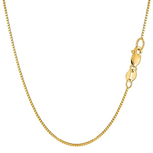 14K Solid Yellow Gold 1mm Box Chain Necklace - 18 Inches 14k Yellow Jewelry Box