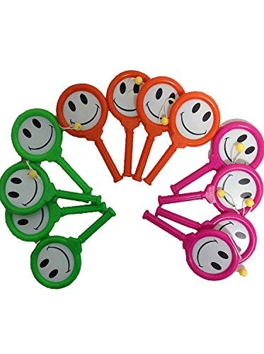 12 Pc. Fun Party Favors Smiley Face Drum Toy
