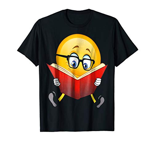 Nerdy Reading Emoji Funny T-Shirt Cute Book Lover Gift for $<!--$14.99-->