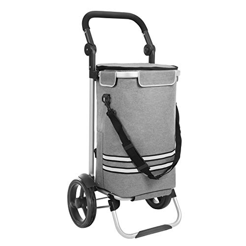 Cart Utility Compact Adjustable (SONGMICS Shopping Trolley Foldable Shopping Cart Solid with Insulated Cooling Bag Large Capacity Multifunctional Trolley Dolly with Wheels Detachable Backpack Grey UKST02GY)