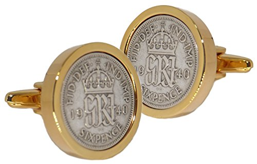 1940 50% Solid Silver Sixpence Coins Set in a 9ct Gold Plate Setting Mens 78 Years Gift Cuff Links by CUFFLINKS DIRECT (Cufflinks With Gift Bag) (9ct Gold Setting)