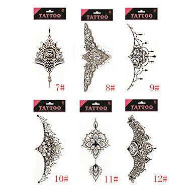 1/Pcs Waterproof Under Breast Tattoo Temporary Tattoo Metallic Sternum Tattoo Six Design Choosing , #11 by OOFAY (Image #1)