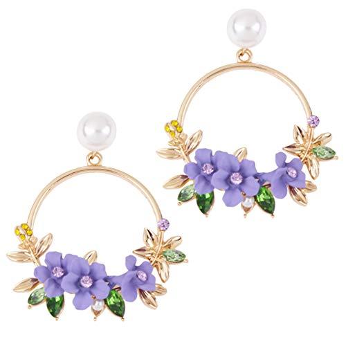 LQJstore Earring For Women Flower Earrings Metal Big Circle Earrings Female Wild Simple Pearl Earring (Purple)