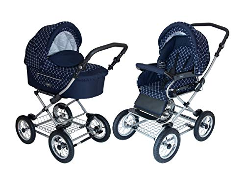 Roan Kortina Classic 2-in-1 Pram Stroller with Bassinet for Newborn Baby and Toddler Reclining Seat with Five Point Safety System UV Proof Canopy and Stainless Steel Storage Basket (Navy – Chequered)