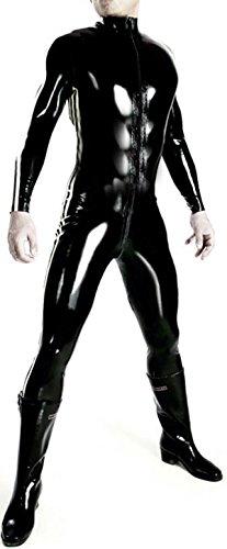 VsvoLatex Men's Latex Rubber Catsuit Unitard Front Zipper (X-Large, Black)