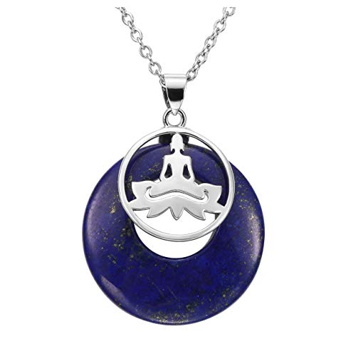Jovivi Dyed Lapis Lazuli Stone Pendant Healing Crystal Silver Plated Yoga Sumbol Gemstone Necklace for Women ()