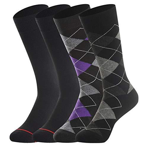 Men's Merino Wool Dress Socks by Bonangel,Summer Casual Wool Socks,Lightweight,Breathable,Sweat-wicking,Black & Argyle (Acrylic Dress Socks)