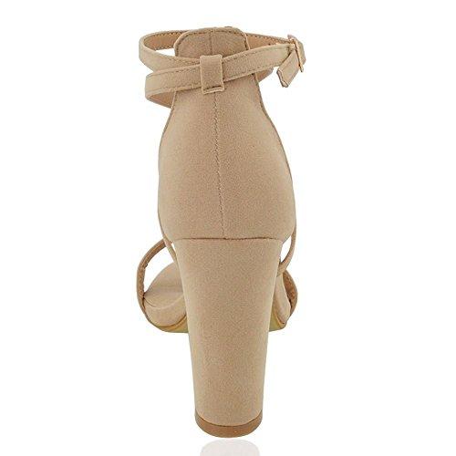 Alla Finto Sandalo Scamosciato Blocco Fibbia A Tacco Essex Donna Festa Caviglia Cinturino Glam Carne 7Ixn5qwUp