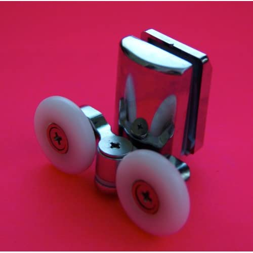 chic Shower Part 4 x Twin Bottom Zinc Alloy Shower Door Rollers /Runners/Wheels 25mm Wheel L067