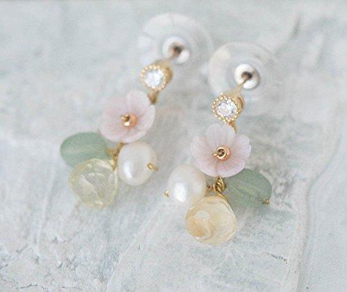 Flower With Citrine Aventurine Stone Earrings - Aventurine Pearl Earrings