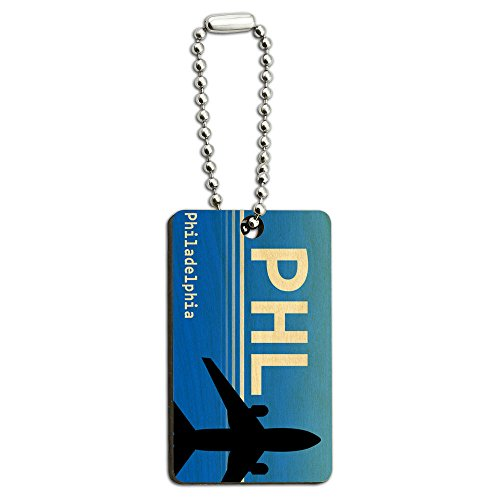 Philadelphia PA - International (PHL) Airport Code Wood Wooden Rectangle Key - In Philadelphia Airport Shops