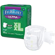 FitRight Ultra Adult Briefs with Tabs, Heavy Absorbency, Case of 80, Available in Sizes S - XXL