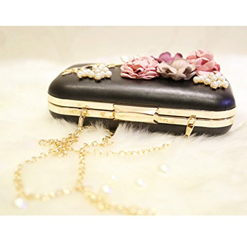 TOOKY Fashion Womens Satin Flower Dinner Clutch Pearl Beaded Evening Hand Bag