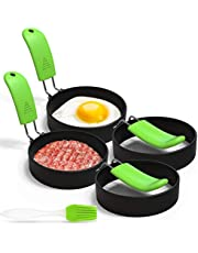 Stainless Steel Egg Rings 4 Pack,Egg Cooker Maker Molds Set Non Stick Coating Breakfast Tool with Anti-scald Handle and Oil Brush For Fried Egg Mcmuffins Sausage Sandwiches