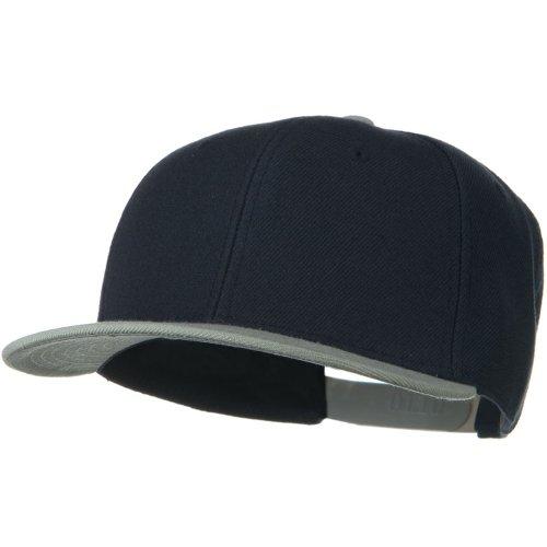 Otto Caps Wool Blend Flat Visor Pro Style Snapback Cap - Grey Navy (Ultrafit Wool Blend Cap)
