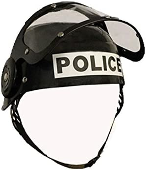 Adultos casco de policía disfraz de para fiesta negro: Amazon.es: Hogar