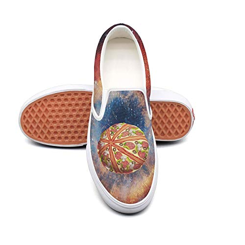 PPQQMM Pizza planet fantasy space Womens Canvas Casual Sneakers -