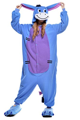 Pajamas, Abary Unisex Adult Hooded Lounge Sleepsuit Animal Onesie Costumes Blue Donkey L (Cute Halloween Costumes For Adults)