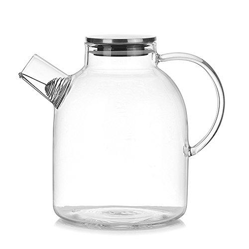 TOOGOO 1800 ml水ピッチャー、Resistant透明ガラスケトルティーポットコーヒーJuice Jug withステンレスStrainer Functional B079C7Y68K