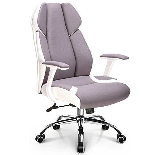 NEO CHAIR Ergonomic Office Chair Gaming Chair High Back Fabric Desk Computer Task Home Chair : Spring Seat White Frame Swivel Adjustable tilt Recline Stylish Design and Color, (Jubilant Gray)