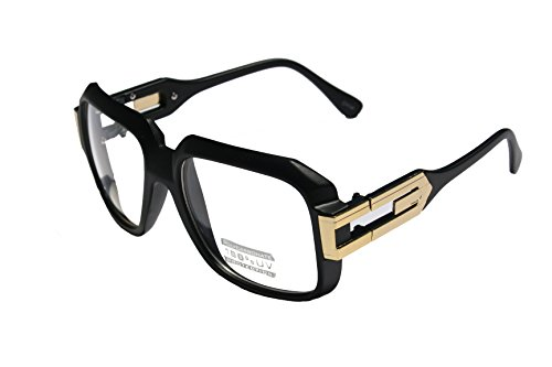 Large Classic Retro Square Frame Clear Lens Glasses with Gold Accent (Matte Black Gold)
