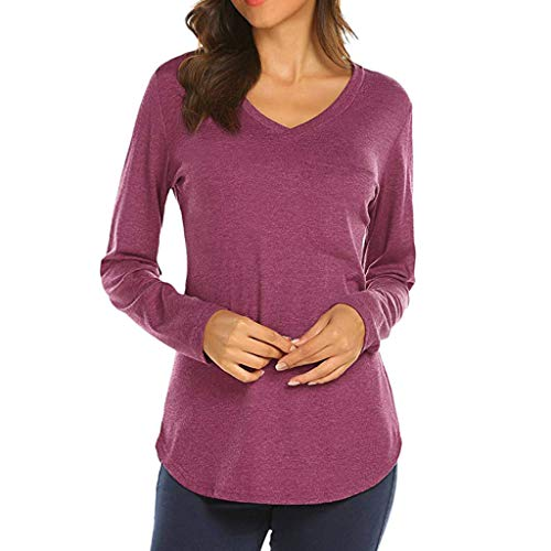 Unita Casual shirt T Donna V Tops Maglietta Camicia Rosso Sweatshirt Semplice Manica Felpe Anmain Primavera Elegante Top collo Tasca Tinta Sportive Pullover Stile Lunga tsQdxCrhB