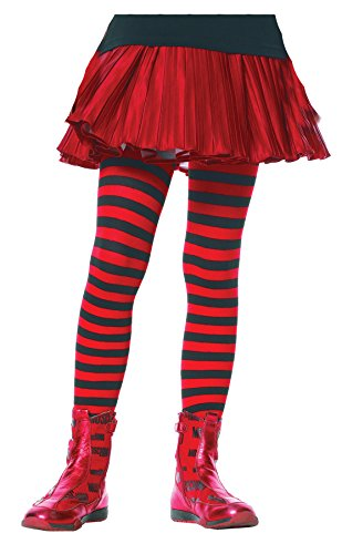 Children's Striped Tights Child Hosiery Black/Red - Large