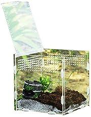 domiluoyoyo Klare Reptilienzuchtbox Kleines Acryl-Terrarium Vollansicht Fütterungsbox für Insekten-Reptilien Vogelspinnen Amphibien Raupen Cricket Spider Snail Reptile