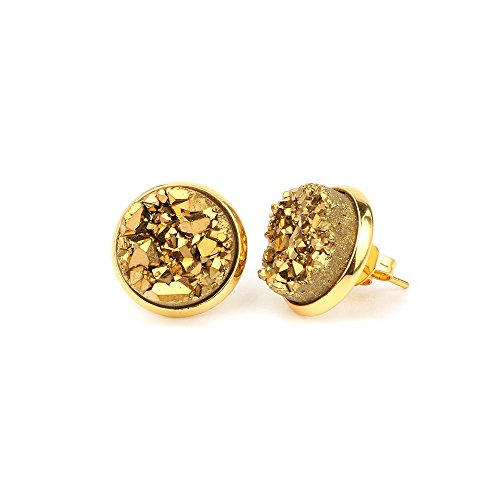 - Tiny 6mm Round 24k Gold Plated Natural Stone Druzy Stud Earrings Women Jewelry(Gold)