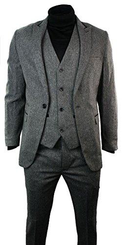 Mens Light Grey Herringbone Tweed Vintage Slim Fit 3 Piece Formal Suit Black (Trim Tweed Suit)