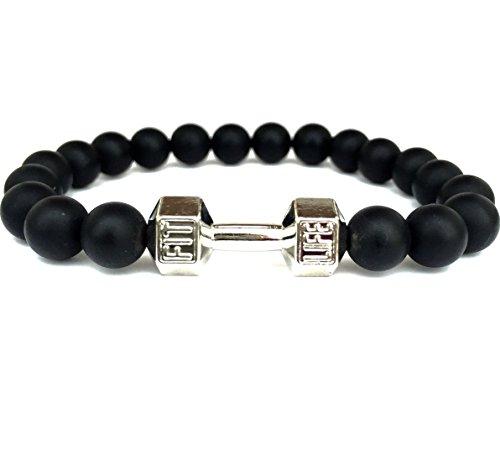 GOOD.designs Fitness Perlen-Armband aus Onyx-Natursteinen, Hantel Anhänger in Silber Bracelet