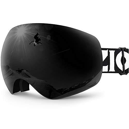 Zionor X10 Ski Snowboard Snow Goggles OTG for Men Women Youth Anti-Fog UV Protection Helmet Compatible (VLT 17% Black Frame Black Lens)