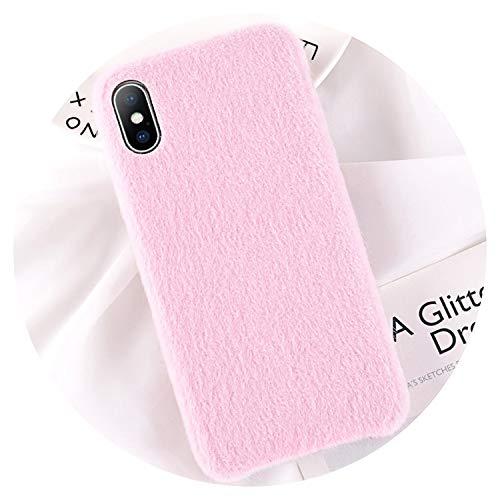 Winter Warm Plush Case for iPhone Xs MAX XR XS X Cartoon Furry Phone Cases for iPhone 8 7 6 6S Plus PU Soft Back Cover,Pink,for iPhone 6 -