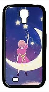 Samsung Galaxy S4 I9500 Black Hard Case - Girl On The Moon Galaxy S4 Cases