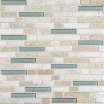 Daltile Glass - Daltile Stone Radiance Whisper Green 11-3/4 in. x 12-1/2 in. x 8 mm Glass and Stone Mosaic Blend Wall Tile