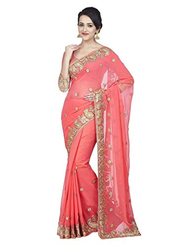 (Mirraw Traditional Designer Embroidered Faux Georgette Wedding Wear Saree with Unstitched Blouse Baby Pink)
