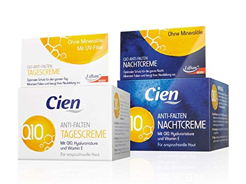 Set of 2 x 50 ml Cien Anti-Wrinkle DAY + NIGHT CREAM - with q10, Hyaluronic Acid & Vitamin E