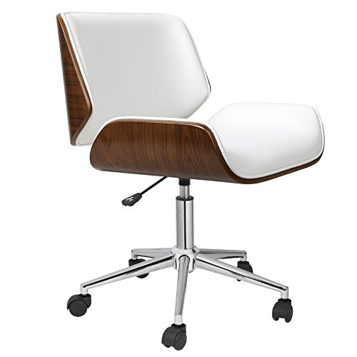 Porthos Home KCH019A WHT Dove Office Chairs in Mid-Century Modern Design with Leather Upholstery, Wooden Accents, Stainless Steel Legs, Roller Wheels & Adjustable Height, White