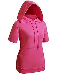 Women's Basic Hoodie Pocket Short Sleeve Hoodies