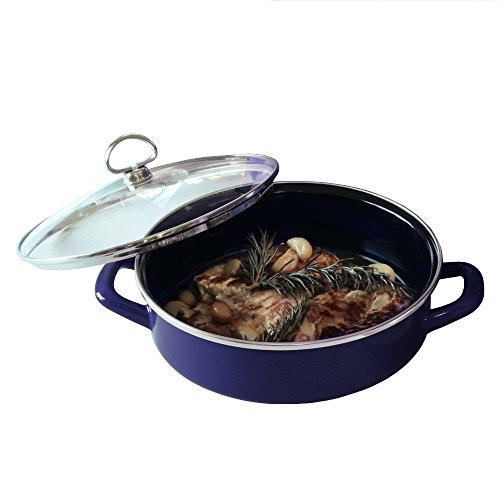 Chantal Enamel-On-Steel 3 Quart Saute & Serve with Tempered Glass Lid, Cobalt Blue by Chantal