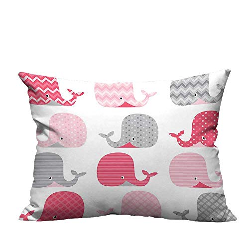 YouXianHome Decorative Couch Pillow Cases Cute Patterned Whales Design Perfect for Baby and Toddler Rooms Pink Grey and Easy to Wash(Double-Sided Printing) 19.5x60 inch ()