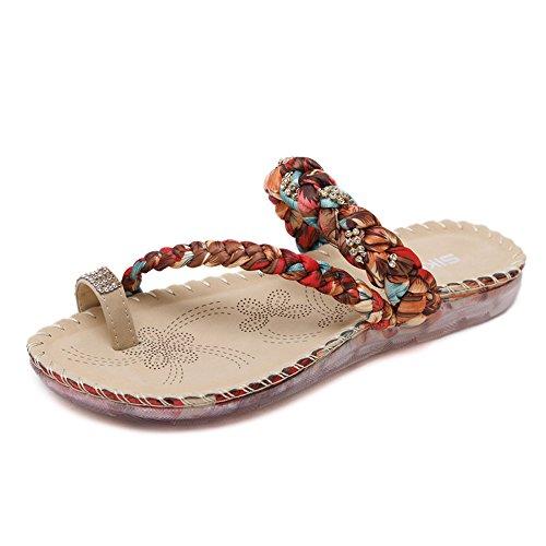 tamaño Clip Gran Playa FangYOU1314 de de Rojo Rhinestones Shoes Bohemia Zapatos Toe zRnvEwqR