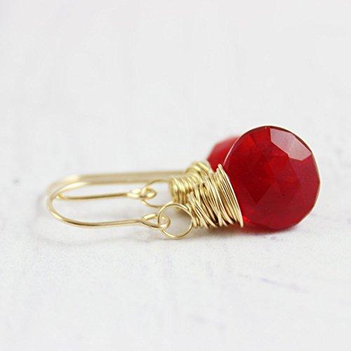 Red Quartz Earrings - Apple Red Quartz 14kt Gold Filled Gemstone Dangle Earrings