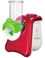 Moulinex DJ8115 Fresh Express Max Elektrische snijmachine (260 W) 5 trommelinzetstukken kubusfunctie wit/metallic rood
