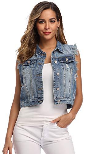MISS MOLY Women Denim Vest Sleeveless Jean Vest with Chest Pockets-XL Light Blue 2