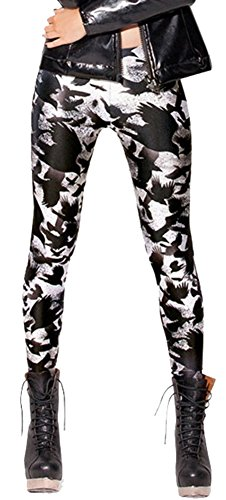 Sister Amy Women's High Waist Animal Printed Ankle Elastic Tights Legging Black/White Crow US XL (Black Crow Clothing)