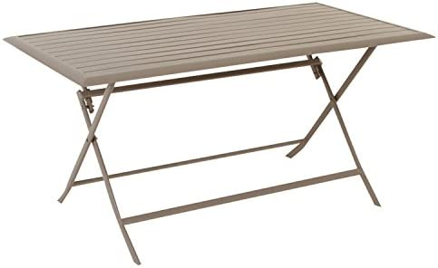 Table pliante rectangulaire Azua - 6 Places - Taupe: Amazon ...