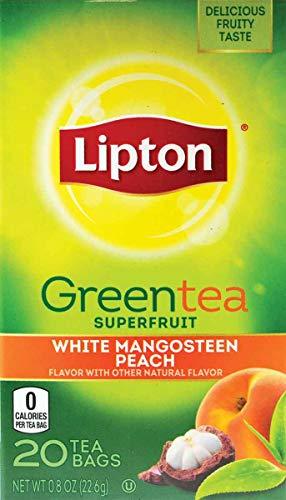 Lipton Green Tea White Mangosteen Peach 20 Count (Pack of 6)